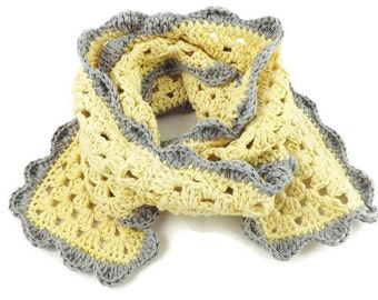 children's scarf, organic clothing, organic kids, cotton scarf, kid's scarf, crochet scarf, summer wrap, light scarf, organic cotton, yellow