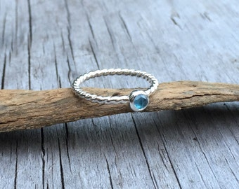 Sterling Silver Ring, Blue Topaz Ring, Silver Stacker Ring, Blue Stone Ring, Topaz Jewelry, Stacking Ring, Gemstone Ring, Stackable Rings