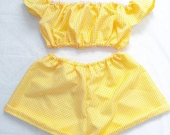 Yellow Gingham Two Piece Co Ord