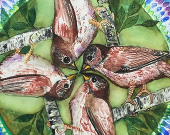 "Fox Sparrow Mandala Print 12""x12"""