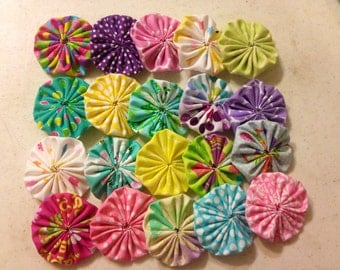 "Easter themed Fabric Yo-Yo Flowers, 30 ct, 2.25"" fabric yoyos, Easter Flowers, Scrapbooking yoyos, Easter crafts, pastel fabric yoyos"