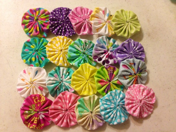 Items similar to easter themed fabric yo flowers ct