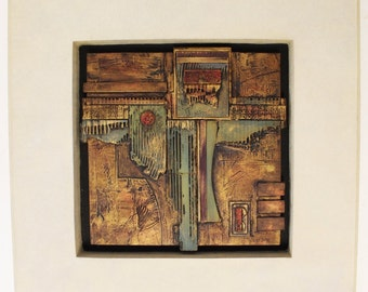 Mid Century Modern Brutalist Metal Casey Collection Abstract Hanging Relief