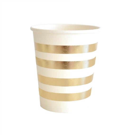 gold striped paper cups