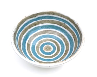 Handmade striped ceramic bowl in white, green and teal blue