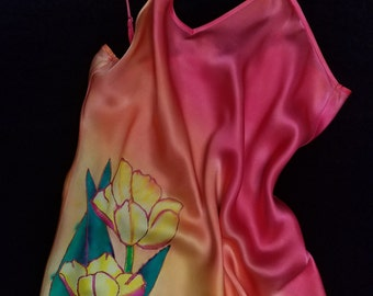 Dancing Tulips - Handpainted Silk Charmeuse Camisole (Small)