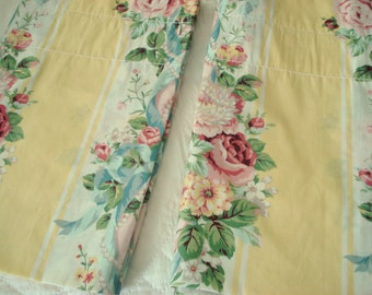 """Vintage Valances Cabbage Rose Set Croscill Princess Yellow Stripe Pink Rose Lined 88"""" wide 18"""" long Set of 2 Shabby Cottage Chic"""