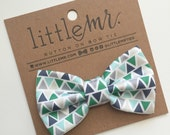 Baby Bow Tie, Toddler Bow Tie, Green Triangle Boys Bow Ties
