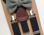Baby Bow Tie and Suspenders, Toddler Bow Tie and Suspenders, Black Bow Tie Black Suspenders
