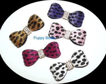 Puppy Bows ~ ANIMAL PRINT  barrette pet hair clip with rhinestone centers ~USA seller