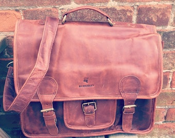 Leather Satchel/Leather Messenger Bag/Laptop Bag BURGHLEY SATCHEL