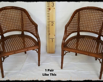1970's Faux Bamboo Caned Barrel Chairs
