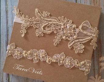Wedding garter set, gold Garter,Rhinestone light gold Garter, Bridal garters light gold ,bridal garter,Floral lace garter,Garter Set