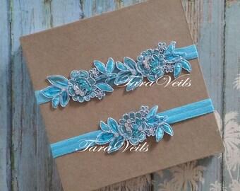 Wedding Garter/ Bridal / Turquoise Blue Garter/ Rhinestone Garter/  bridal garter/ Floral lace garter / Vintage Garter/Garter Set