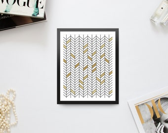 Gold Color Block Chevron