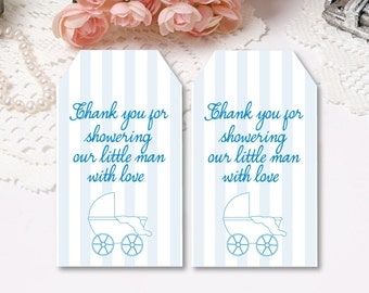 Printable Baby Shower Favor Tags Thank You Baby Carriage Tags Printable Instant Download Blue Striped Favor Tags