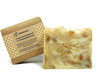 Unscented Natural Oatmeal Soap with Chamomile Powder, Sensitive Skin Soap, Handmade Soap, Vegan Soap, Gift under 10
