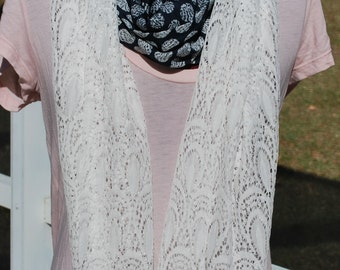 Vintage Navy White Fabric with Lace Scarf, worn multiple ways
