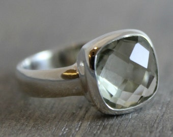Green Amethyst Cushion Cut  Ring - Prasiolite Ring - Sterling Silver- gemstone ring - Bezel Ring - square ring- cushion cut gemstone ring