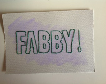 Fabby Hand Stitched and Watercolour Print (5' x 7' Size)