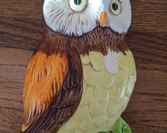 Vintage Ceramic Orange and Brown Owl Wall Hanging
