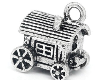 2 Antique Silver Caravan Charms 14mm x 13mm 3D Gypsy Carriages - Camper - Trailer TS541