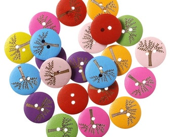 12 Round Tree Design Wooden Buttons 20mm Mixed Colours - Painted Wood Trees Bright Embellishments Scrapbooking