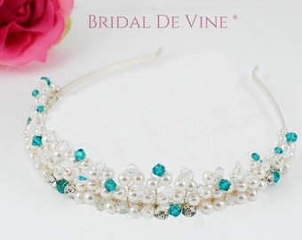 Bridal Tiara With Pearls and Choice of Crystal Colours Accessory - Wedding