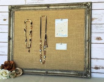 Large framed cork board - shabby chic decor - bulletin board