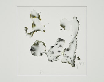 Minimalist Watercolor, Abstract White Small Painting, Framed Watercolor, Ready to Hang