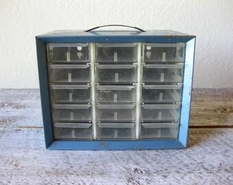 Blue Metal Storage Box Organizer Cabinet by Akro-Mil ~ Parts Bin ~ Industrial Cabinet ~ 15 Drawer Organizer ~ Storage Box ~ Hang/Sit