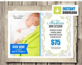 30% OFF Newborn Photo Session Marketing Board for Photographers - INSTANT DOWNLOAD - Newborn Baby Blog Marketing Board - Photography Templat