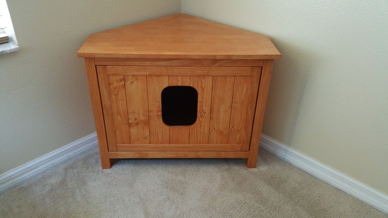 Corner Cabinet Odor Free Custom Hand Made In Usa Wood Cat