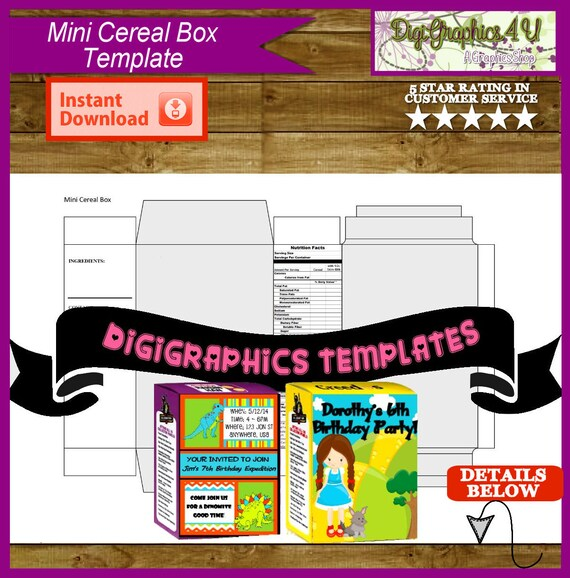 design your own cereal box template - mini cereal box printable template instant download png