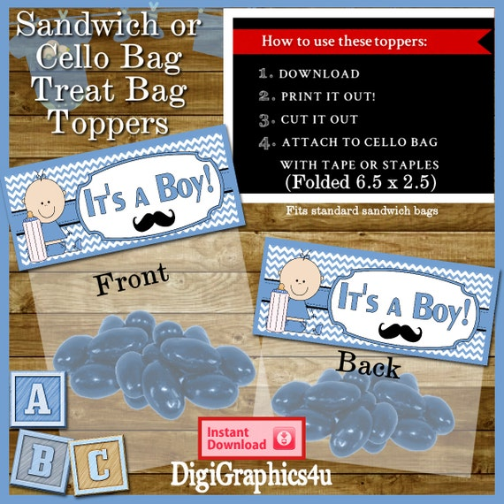 printable baby boy shower cello treat bag toppers for your parties