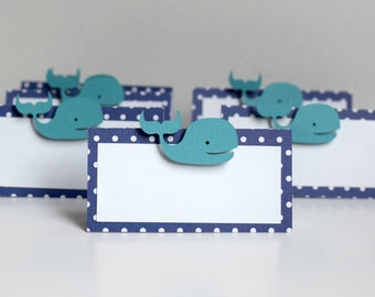 Whale place cards, Whale food tents, Whale party