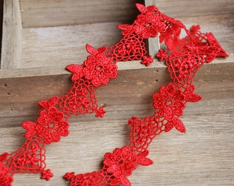 2 Yards Lace Trim Red Exquisite Venice Embroidery Lace Wedding Trim Bridal 1.18 inches width