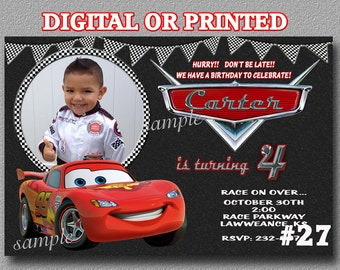 Disney Cars Birthday Invitation YOU Print Digital File or PRINTED with photo, Cars party Printable Birthday Party Invitation