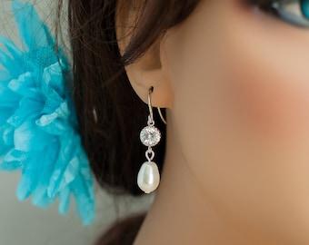 Bridesmaid jewelry set silver bridal earrings silver earrings silver crystal earrings pearl bridal jewelry silver bridesmaid earrings