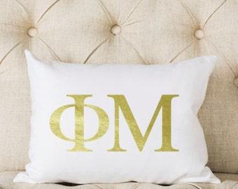 Phi Mu Pillow   Metallic   Gold   Greek   Sorority