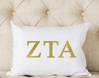 Zeta Tau Alpha Pillow | Metallic | Gold | Greek | Sorority