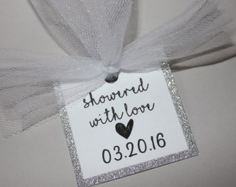 Showered with love bridal shower tag with glitter trim