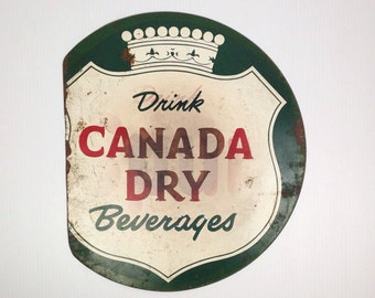 Antique Canda Dry Sign 1940s Vintage Advertising Sign Drink Canada Dry Beverages Metal Sign Old 1940s Green Soda Advertising Sign Round