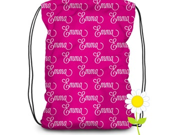 Personalized Drawstring Backpack - Custom Name Backpack - Kids' Fabric Bag with Name - PE Bag - School Bag - Drawstring Dance Bag for Girls