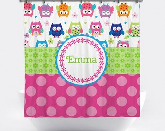 Owl Personalized Shower Curtain - Owl Shower Curtain with Name - Custom Owl Bath Decor - Colorful Owls Shower Curtain - Kids Shower Curtain