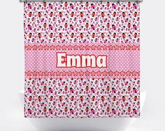 Ladybug Personalized Shower Curtain Ladybug Shower Curtain Custom Ladybug Bath Decor Pink Ladybug