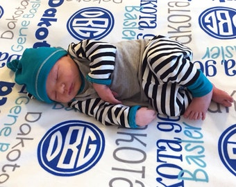 Personalized Baby Boy Blanket with Monogram - Custom Receiving Blanket - Name Baby Blanket - Newborn Swaddling Blanket - Baby Boy Gift