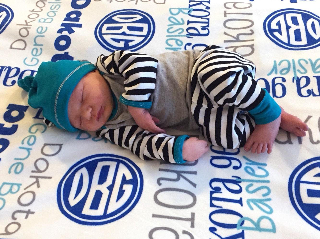 Personalized Baby Boy Blanket with Monogram Custom Receiving