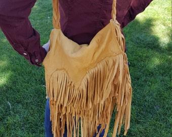 Gorgeous Hippie Bohemian Leather Fringe Cross Body Purse