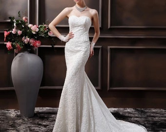 Strapless all over lace wedding dress